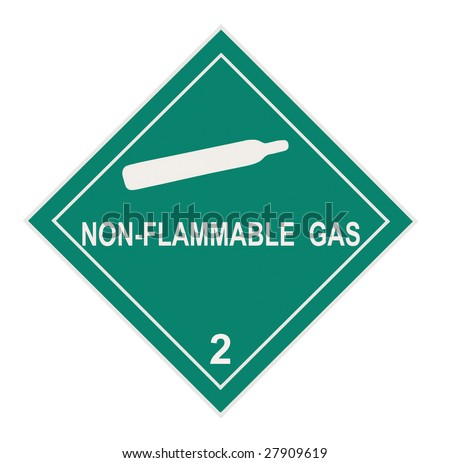 United States Department of Transportation non-flammable gas warning label isolated on white - stock photo