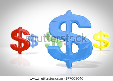 United States Dollar sign in a low poly 3d scene in origami style for creative illustrations isolated on white background - stock photo