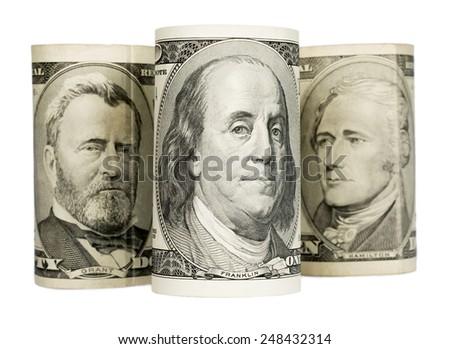 united states dollars isolated on white background - stock photo