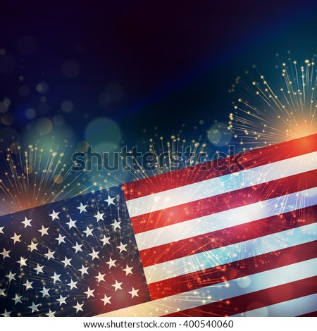 United States flag. Fireworks background for USA Independence Day. Fourth of July celebrate banner - stock photo