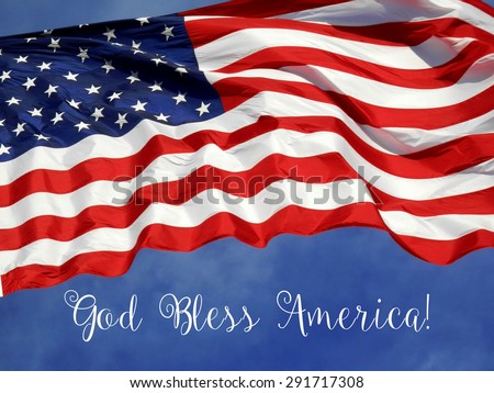 "United States Flag ""God Bless America"" - stock photo"