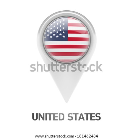 United States Flag isolated on white background - stock photo