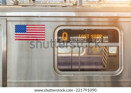 United States Flag on a Subway Train - stock photo