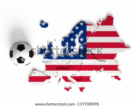 United States flag on European map with national borders, isolated on white background - stock photo