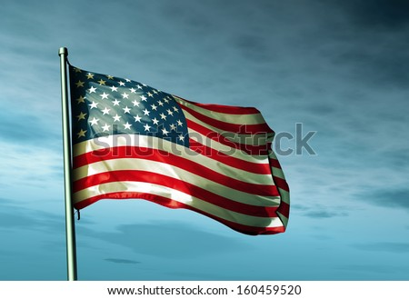 United States flag waving on the wind - stock photo