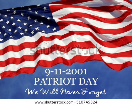 United States Flag with 9/11 concept        - stock photo