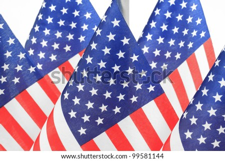 United States flags hanging in the queue on flagpole, Isolated on the white background - stock photo