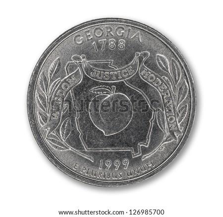 United States Georgia quarter dollar coin on white with path outline - stock photo