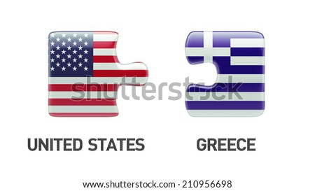 United States Greece High Resolution Puzzle Concept