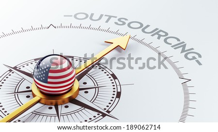 United States High Resolution Outsourcing Concept - stock photo