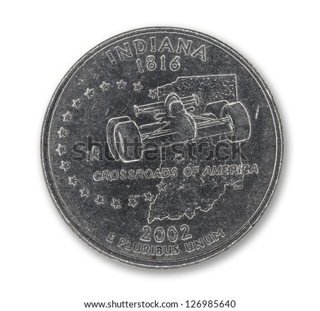 United States Indiana quarter dollar coin on white with path outline - stock photo