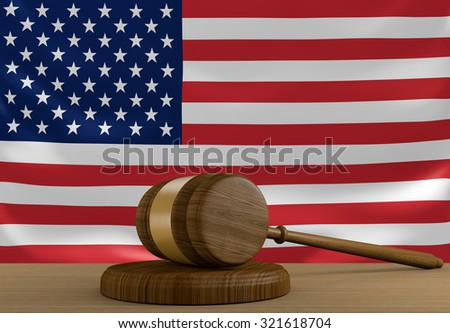 United States law and justice system with national flag - stock photo