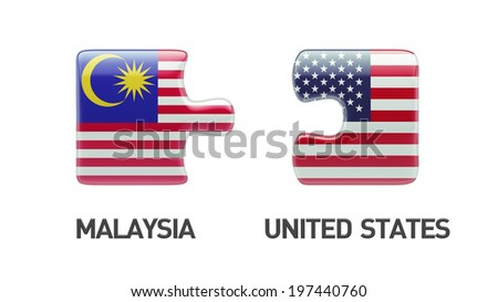 United States Malaysia High Resolution Puzzle Concept