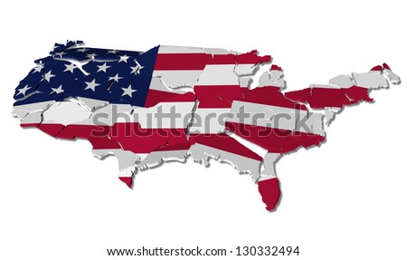 United States map cracked, conceptual representation of national crisis - stock photo