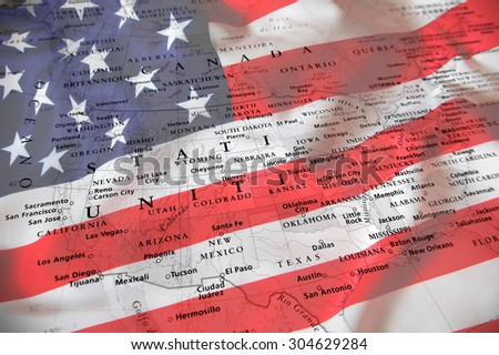 United States map with national flag - stock photo