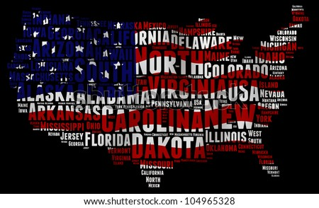 UNITED STATES map words cloud of major cities with a black background - stock photo