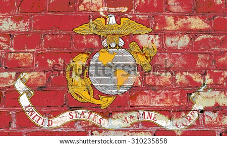 United States Marine Corps flag painted on old brick wall texture background - stock photo