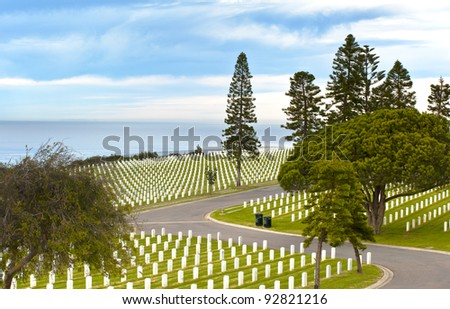 United States Military Cemetery in Point Loma San Diego, California - stock photo