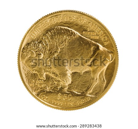 United States Mint issued coin of reverse side of American Buffalo coin, fine gold, isolated on pure white background. Coin in pristine condition shot in studio with macro lens. - stock photo