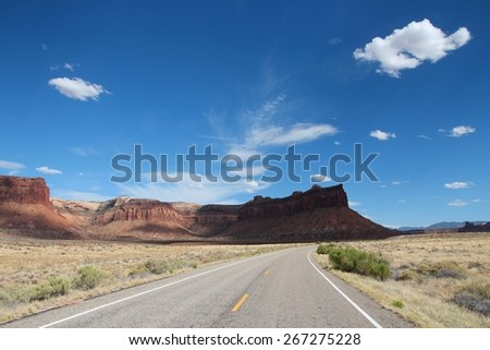 United States nature in Utah. Road to Canyonlands National Park. - stock photo