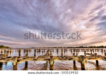 United States Naval Academy along the Severn river in Annapolis Maryland - stock photo