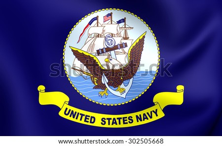 United States Navy 3D Flag. Close Up.   - stock photo