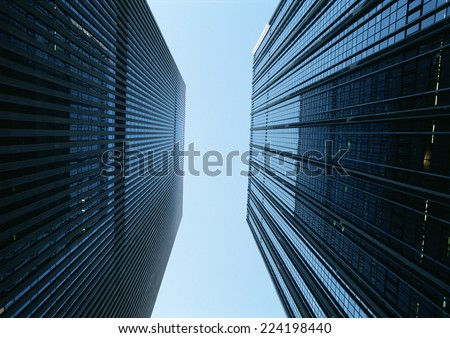 United States, New York, skyscrapers, low angle view - stock photo