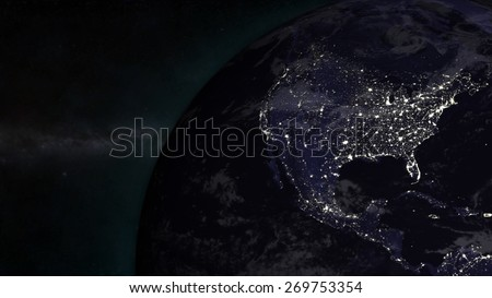 United States - North American Night (Elements of this image furnished by NASA) - stock photo