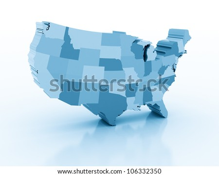 United states of ameria 3d map - stock photo