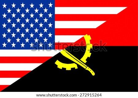 united states of america and angola half country flag - stock photo