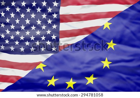 United States of America and European Union mixed flag. Wavy flag of United States of America and European Union fills the frame.
