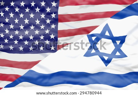 United States of America and Israel mixed flag. Wavy flag of United States of America and Israel fills the frame - stock photo