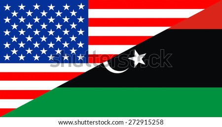 united states of america and libya half country flag - stock photo