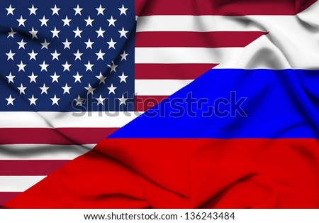 United States of America and Russia waving flag - stock photo