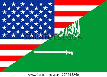united states of america and saudi arabia half country flag - stock photo