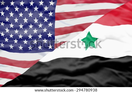 United States of America and Syria mixed flag. Wavy flag of United States of America and Syria fills the frame. - stock photo