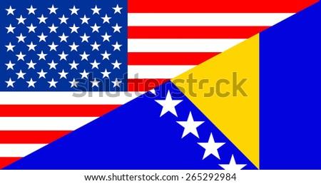 united states of america Bosnia and Herzegovina half country flag - stock photo