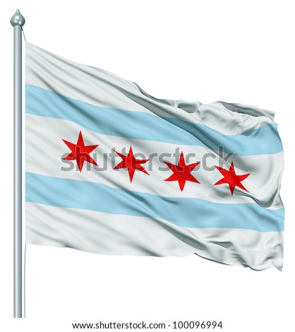 United States of America Chicago city flag fluttering in the wind - stock photo