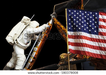 UNITED STATES OF AMERICA - CIRCA 2014: A display shows man landing on the moon, USA, circa 2014  - stock photo