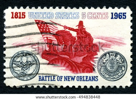 UNITED STATES OF AMERICA - CIRCA 1965: A postage stamp from the USA, commemorating the 150th Anniversary of the Battle of New Orleans, circa 1965.