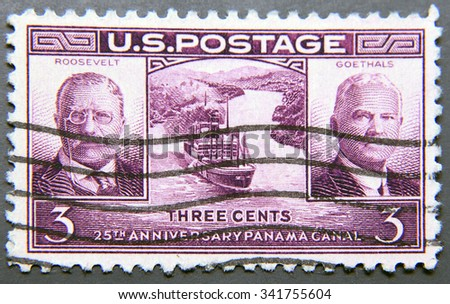 UNITED STATES OF AMERICA - CIRCA 1939: A postage stamp of USA, dedicated to the 25th anniversary of the Panama Canal opening, shows Theodore Roosevelt, Gen. George W. Goethals and Gaillard Cut - stock photo