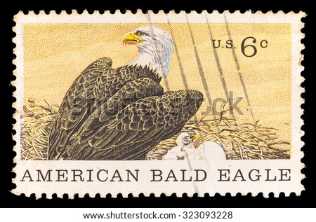 UNITED STATES OF AMERICA - CIRCA 1970: A postage stamp printed in United States shows an American Bald Eagle. Commemorative Stamp for the Centenary of American Natural History Museum, circa 1970 - stock photo