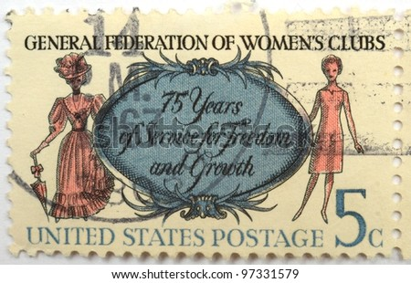 UNITED STATES OF AMERICA - CIRCA 1967: a stamp from the USA shows image commemorating the 75th anniversary of the General Federation of Women's Clubs, circa 1967