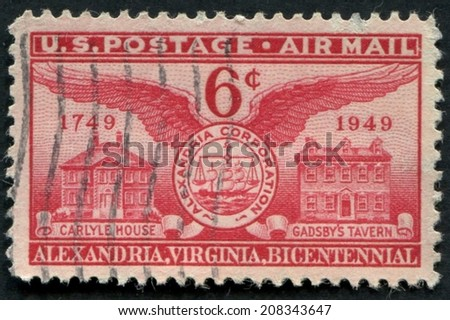 United States of America-Circa 1949: a stamp issued to commemorate the bicentennial of Alexandria, Virginia.