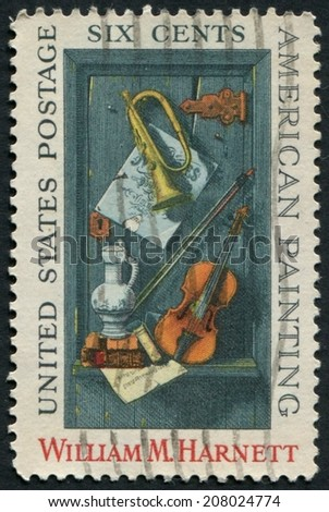 United States of America-Circa 1969: a stamp issued to honor American painter William H Harnett.
