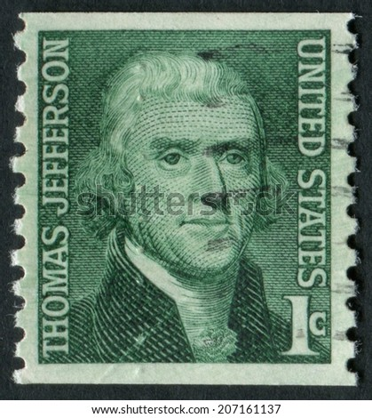 United States of America-Circa 1968: a stamp issued to honor Founding Father and the 3rd President of the United States, Thomas Jefferson.