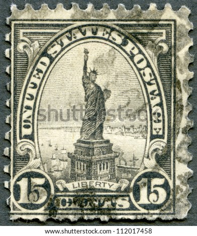 UNITED STATES OF AMERICA - CIRCA 1922: A stamp printed by USA shows Statue of Liberty, circa 1922 - stock photo