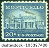UNITED STATES OF AMERICA - CIRCA 1956: a stamp printed in the United States of America shows Monticello, estate of Thomas Jefferson, circa 1956 - stock
