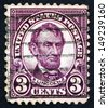 UNITED STATES OF AMERICA - CIRCA 1923: a stamp printed in the United States of America shows Abraham Lincoln, 16th President of USA 1861-1865, circa 1923 - stock photo