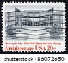 UNITED STATES OF AMERICA - CIRCA 1982: a stamp printed in the United States of America shows Illinois Institute of Technology by Ludwig Mies van der Rohe, circa 1982 - stock photo